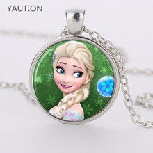 Elsa Anna Olaf fever pendant cartoon necklaces girl jewelry round necklace women girls gift for children silver neck lace(China)