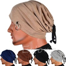 Multifunction Men Ring Lacing Beanie Unisex Baggy Light Hip-Hop Skull Cap
