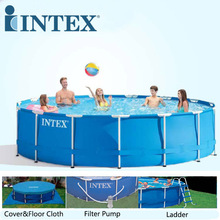 INTEX 457*122 cm Round Frame Family Swimming Pool Set Pipe Rack Pond Large above ground Swimming Pool Piscina Filter Pump B32001(China)