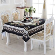 Family Expenses Oilproof Table Cloth Black Rectangular Tablecloths Creative Flower Design Eco-friendly Home Textile ZD-5