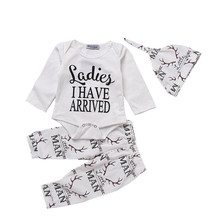 Autumn Sports Suits For Babies Letter Print Infant Children's Clothing Sets White Cotton Rompers Tops+Pants+Caps Outfits Boys