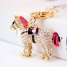 Unique Crystal Horse Rhinestone Metal Key Chains Holder HandBag Pendant Fashion Keyrings Keychains For Car Best Gift K241