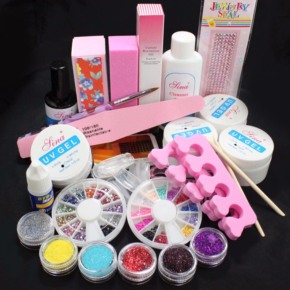 Nails Art Suit Full Acrylic Glitter Powder Glue File French Nail Art UV Gel Tips Kit Set Cleanser Cleaning Brush Glue Buffer #10<br>