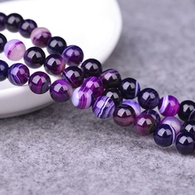 Wholesale Natural Purple Banded Agat Natural Stone Round Beads For Jewelry Making DIY Bracelet Necklace 4 6 8 10 12 mm 15.5''(China)