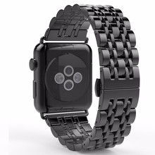2017 New Style Stainless Steel Space Gray Smart Watch Band For Apple Watch Band 38mm 42mm Bracelet Hidden Clasp Sport Edition(China)
