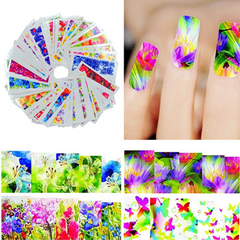 YZWLE 50 Sheets Mixed Designs YZWLE 60 Sheets Flower DIY Decals Nails Art Water Transfer Printing Stickers For Nails Salon