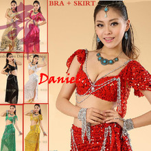 Belly Dance Costume (Bellydance Bra+Shiny Skirts) Bollywood Dance Costumes 8colors Dance Wear Party Dress Tribal Free Shipping