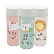 Clear Personalized  BPA Free With Lid Plastic Insulated Modern Kawaii Animals Rabbit Lion Cats Kids Water Bottles 300ml Gifts
