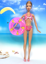 NK One Set Swimwear Beach Bathing Swimsuit + Slippers Swimming Buoy Lifebelt Ring For Barbie Doll Accessories Best Girl' Gift(China)