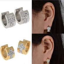 Fashion 2PC Women Mens Cross Surgical Silver Gold Stainless Steel Bling Crystal Huggie Hoop Earring