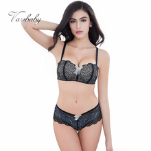 Varsbaby Half cup sexy lace bra wire free bra converible strap Bra sets(China)