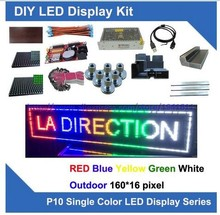 DIY Kits 16*160 pixels 5pcs p10 red blue yellow green white outdoor led modules display programmable moving led scroll led sign