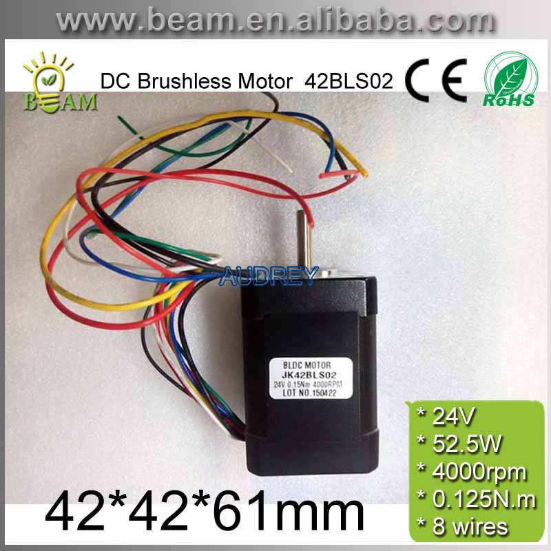 FREE SHIPPING 0.125N.m 24V 52.5W 42mm Square Brushless dc motor with Hall Low Noise 4000rpm BLDC Motor 42BLS02<br>