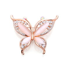 OneckOha Fashion Opal Stone Butterfly Brooches Rhinestone Animal Brooch Pin Rose Gold Jewelry Birthday Gift