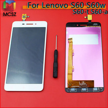 High Quality New Touch Screen Digitizer + LCD Display Replacement For Lenovo S60 S60w Cell Phone 5.0 inch 1280*720 Black White