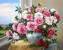 Diamond embroidery flowers picture pastes round diamond puzzle diy 5d diamond painting cross stitch peony mosaic kits pattern