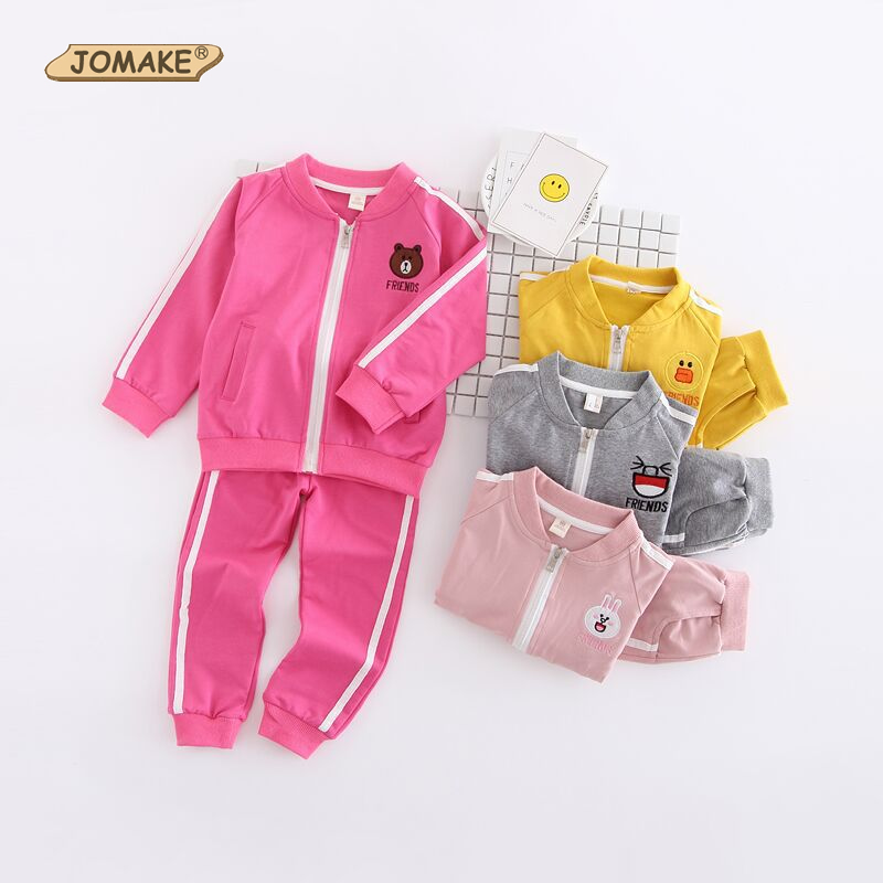 Cartoon Children Clothing Sets Autumn Cute Bear/Rabbit Zipper Jackets+Pants 2pcs Sports Suit Infant Kids Clothes For Girls Boys(China (Mainland))