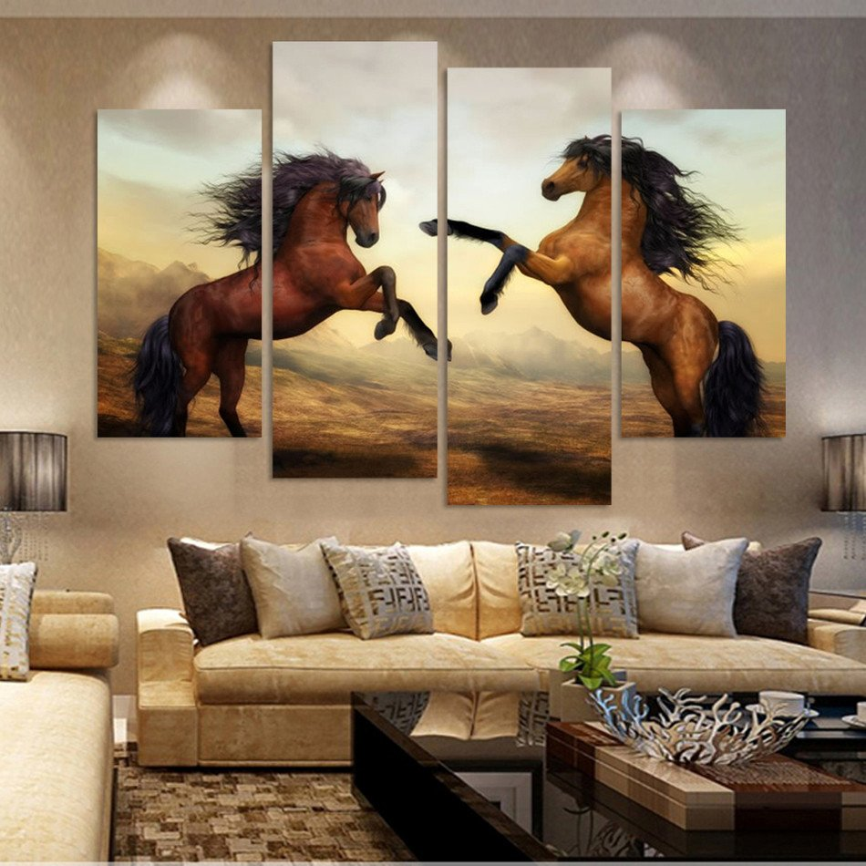 4PC HD Canvas Print Set Home Decor Wall Art Painting Picture A Horse Noframe