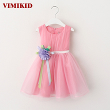 VIMIKID 2017 New Girls tutu dress + belt flowers gauze children princess vest dress Girls lace dress kids clothes pink purple