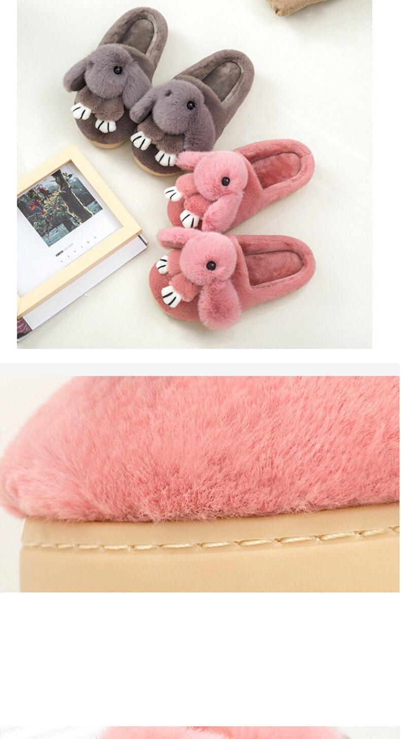 Cartoon rabbit ladies lovely winter slippers winter indoor plush basic female shoes totem fur slippers plus size 36-44