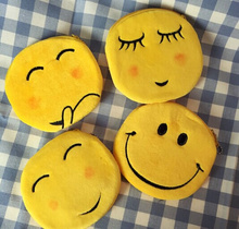 Novelty Cute Smiley Face - 10cm cotton plush gift Storage Box Coin BAG Wallet Purse Keys holder Bag Pouch Organizer Storage Box(China)
