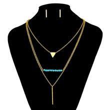 2016 New Multi Layer Women Necklace Gold Jewelry Sets For Women Turquoise 3 Layer Necklace Stainless Steel Jewelry Set N3