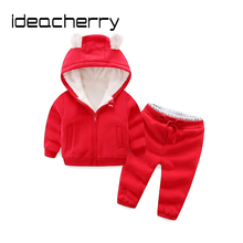 ideacherry Brand Children Boy Girl Thicker Clothes Sets Cotton Sweater Suit Thicker Coats Pants 2 Pcs Kids Rabbit Hooded Jacket