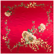 Women Silk Scarf Chinese Rose Red Sweetheart Print Scarves Bandanas Headscarf summer scarf foulard square neckerchief