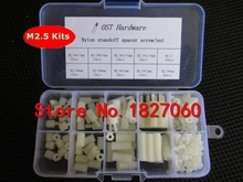 200pcs M2.5 Nylon M-F Hex Standoff Spacers /Screw /Nut Assortment Kits with Plastic Box Set M2.5*6/8/10/12(China)