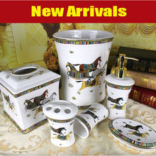 Porcelain bathroom sets ceramic bathroom sets god horse design white glazed bathroom sets 6 pieces housewarming gifts