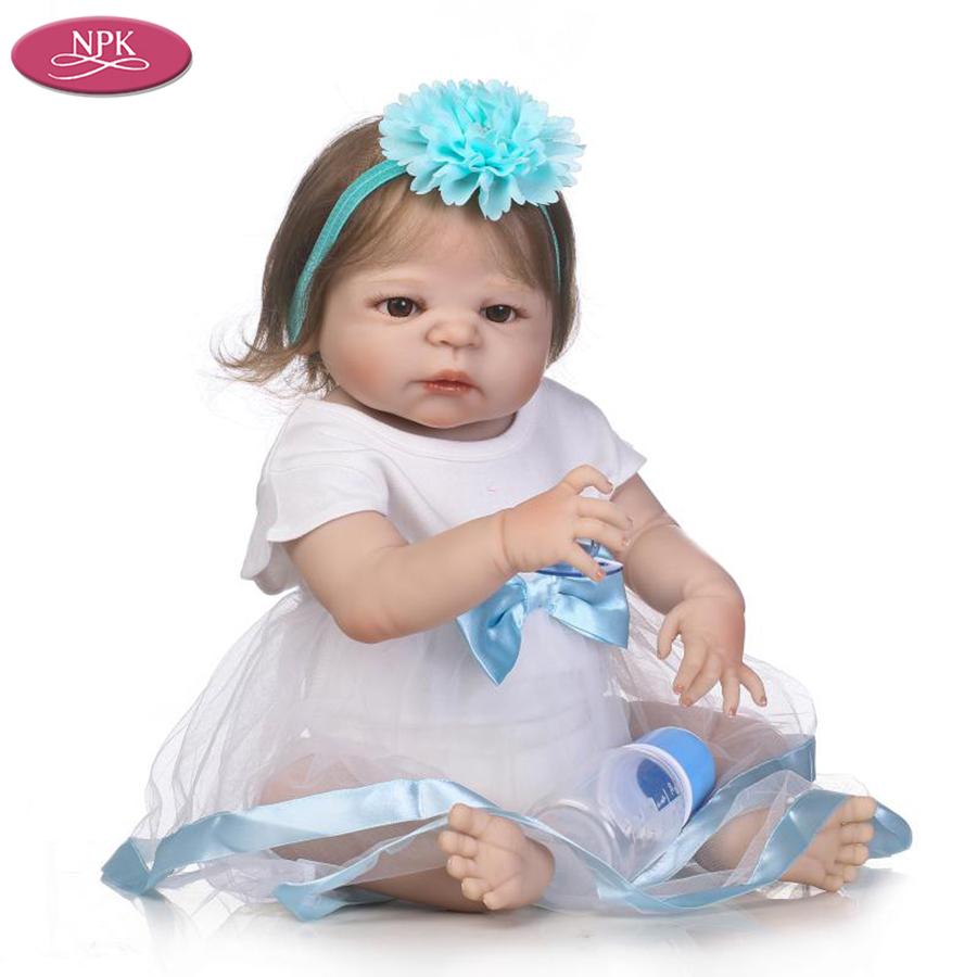 NPK 57CM Full SIlicone Vinyl Body Reborn Babies Children Bathe Doll Toys Lifelike Real Baby Girl Realista Bebe Reborn Bonecas (1)