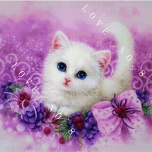 Free shipping Diy diamond painting kits 3d cross stitch diamond rhinestone painting full square resin diamond Purple cat