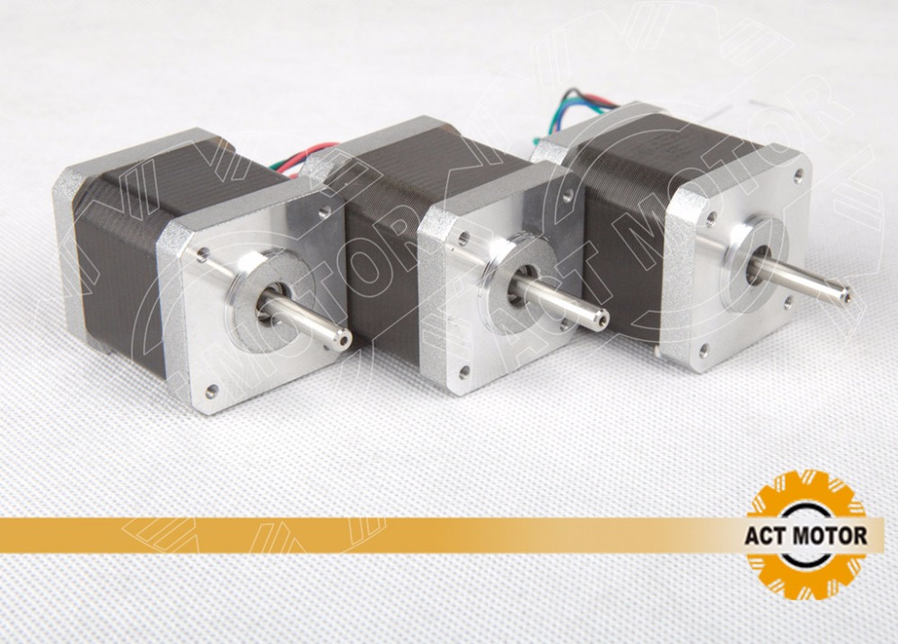 Free shipping from Germany! ACT 3PCS Nema17 Stepper Motor 17HS5425B24 Dual Shaft 2Ph 70oz-in 48mm 2.5A 300mm Wire 3D Printer CE<br><br>Aliexpress