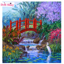 Red Bridge Diamond Mosaic Scenic Pattern Handicraft Diamond Embroidery DIY Wall Decor Unfinished Painting New Year's products(China)