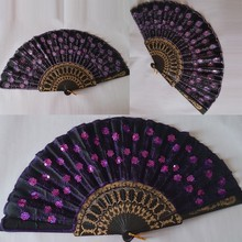 Folding Sequins Hand Fan Wedding Party Decor Fan Embroidered Peacock Tail