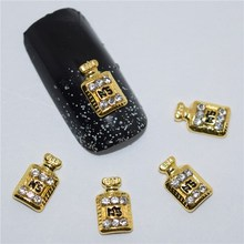 10psc New Gold perfume 3D Nail Art Decorations,Alloy Nail Charms,Nails Rhinestones Nail Supplies #481(China)