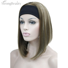 Strong Beauty Half Ladies' 3/4 Wig With Headband Straight Synthetic Capless Full Hair Women Wigs 10Colors