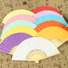 Chinese Style Bamboo Paper Pocket Fan Folding Foldable Hand Held Fans Wedding Favor Event Party Supplies Candy Color