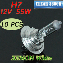 10 PCS 12V 55W H7 Clear 3800K HeadLight Bulb Glass Car Halogen Light FREE SHIPPING