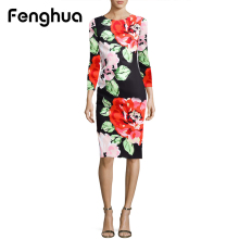 Fenghua Fashion Elegant Autumn Winter Dress Women 2017 Long Sleeve Foral Vintage Sexy Work Business Office Party Bodycon Dresses(China)