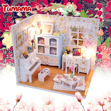 Tumama Handmade Doll House Furniture Diy Miniature Dust Cover 3D Wooden Miniaturas Dollhouse Toys for Children Birthday Gifts