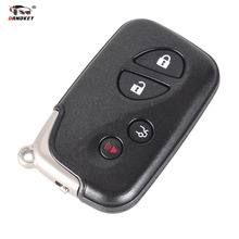 DANDKEY Smart Remote Uncut Key Case Shell Fob Car Key Cover 4 Buttons Black for Lexus LX470 GS450h IS350 SC430 With Logo