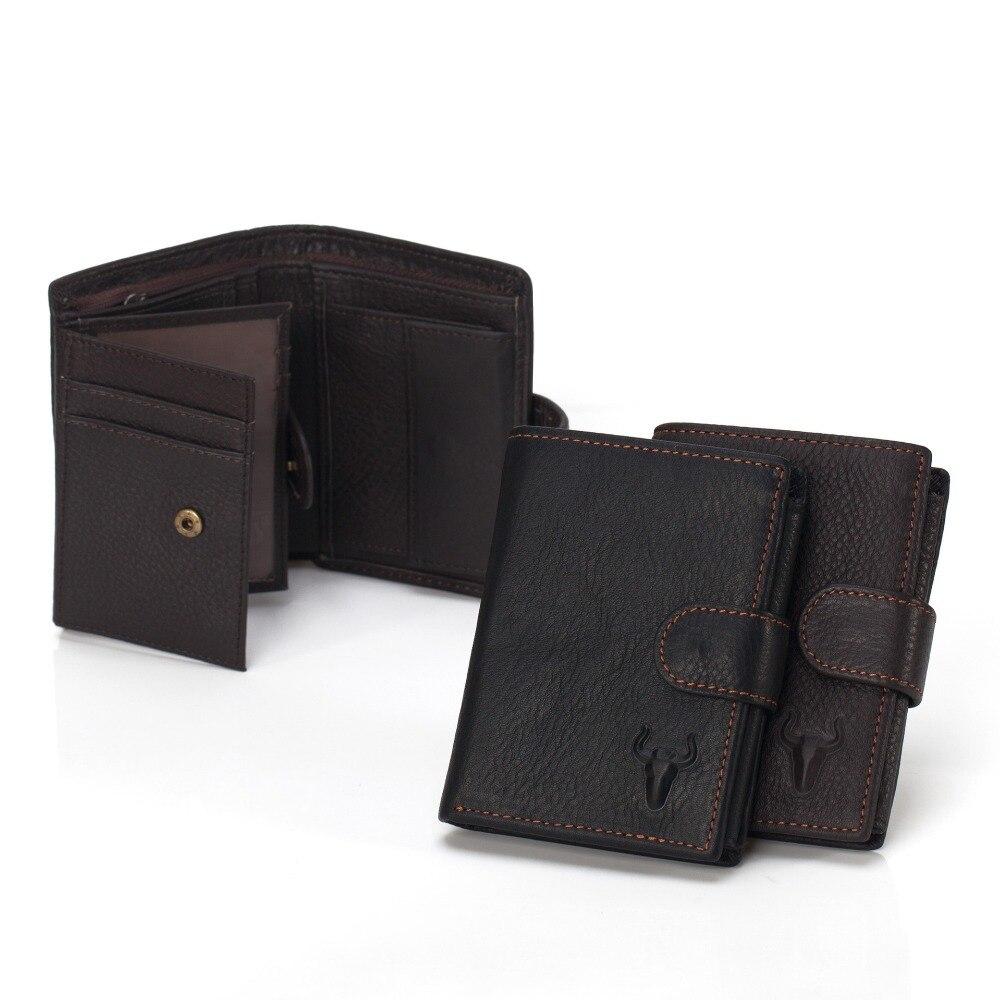 Top Grain Leather Black Short Mini Wallets Mens Women Unisex Vintage Wallet Cowhide Mini Purse Zipper Pocket Card Photo Holder<br>