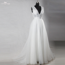 RSW1105 Real Photos Yiai V Neckline Beaded Leaves Design Organza Skirt Wedding Dress A Line