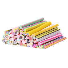 50Pcs 3D Nail Art Manicure Fimo Canes Sticks Gel Rods Stickers Butterfly Bowknot Cake Animal Pattern Soft Polymer Clay New Cute(China)