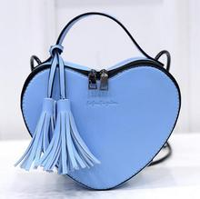 Creative tassel heart shape ladies cross body messenger bag women shopping heart-shaped shoulder bags 2017 new woman handbags(China)