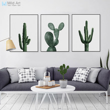 Nordic Watercolor Green Cactus Plant Poster Print Hipster Floral Wall Art Picture Modern Home Deco Canvas Painting No Frame Gift(China)