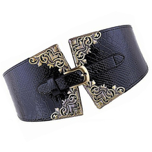 IMC New Lady Women Elastic Waistband Wide Waist Belt Retro Metal Buckle Faux Leather Blue(China)
