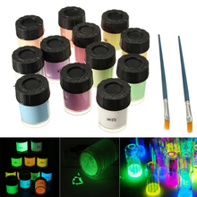 12 Bottle Neon Luminous Acrylic Paint Glow in the Dark Pigment Set Fluorescent Paint + 2 Brushes For DIY Decorations Mayitr