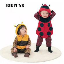 Cute Baby Rompers Costumes Ladybug Bee Newborn Babies Suit Sets Hoodie Toddler Boys Girls Cosplay Outfits Clothing Infant Romper